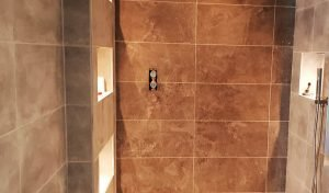 picture of completed bathroom fitting and tiling service in london by pb builder