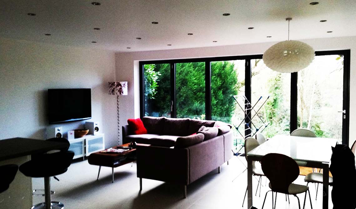 picture of house in london with extension converted into living room by pb builder
