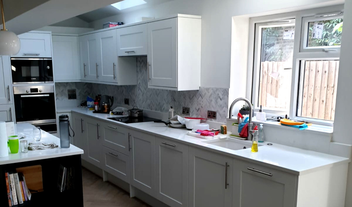 picture of kitchen installed in newly build house extension by pb builder