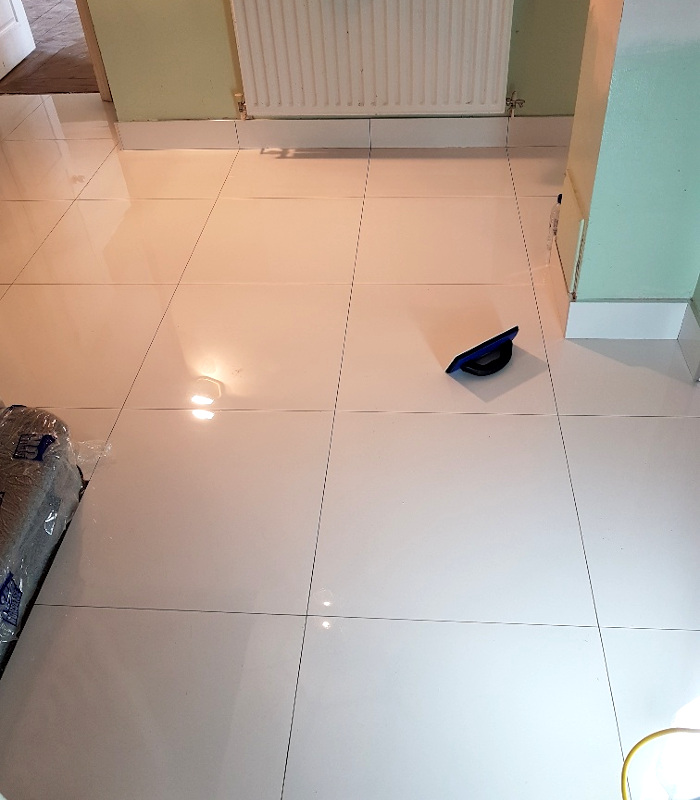 picture of floor during tiling by pb builder tilers